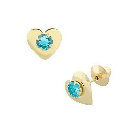 Brinco Coração Ouro 18K com Pedra Azul  Claro Zircônia (Pode haver alteração na cor por ser pedra zircônia).