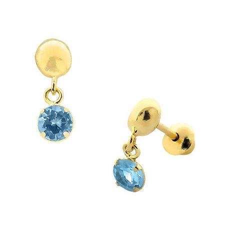 Brinco de Ouro 18K com Pedra Azul Claro de Zircônia Pendurada