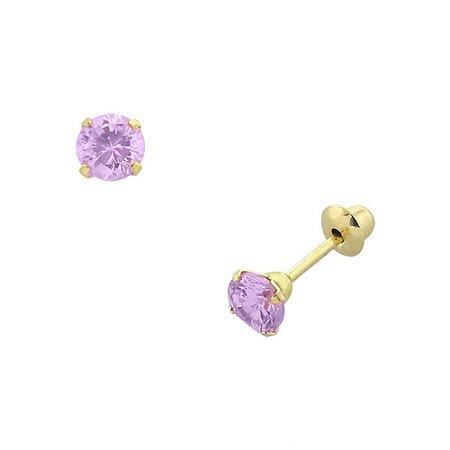 Brinco de Ouro 18K com Pedra Zircônia Rosa 3,5mm