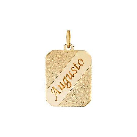 Pingente Placa de Gravação Ouro 18k