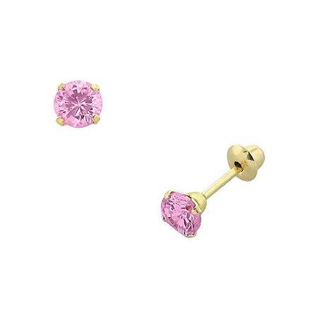 Brinco de Ouro 18K com Pedra Rosa de Zircônia 3mm
