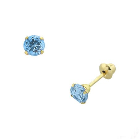 Brinco de Ouro 18K com Pedra Azul de Zircônia 3 mm