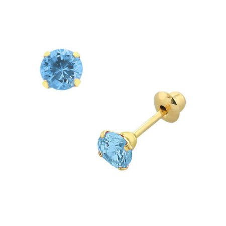 Brinco de Ouro 18K com Pedra Azul de Zircônia 4 mm(pode ter alteração de cor)