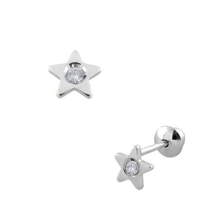 Brinco Estrela de Ouro Branco 18K com Pedras de 1,25 mm Zircônia