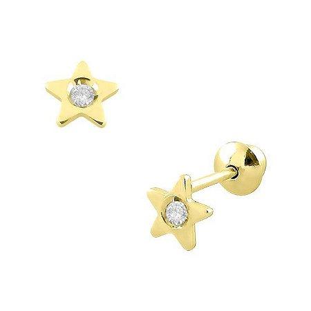 Brinco Estrela de Ouro 18K com Zircônias de 1,25mm