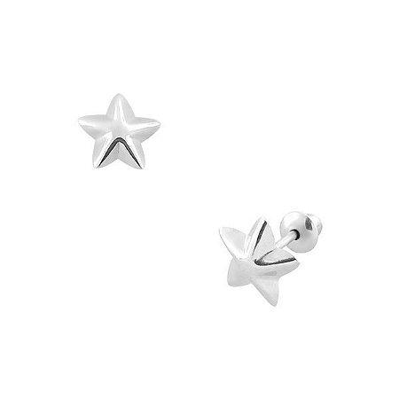 Brinco Estrela de Ouro Branco 18K