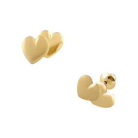 Brinco de Ouro 18K Coração Duplo Fosqueado