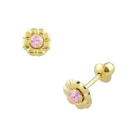Brinco de Ouro 18K de Flor com Pedra 2mm Zircônia Rosa