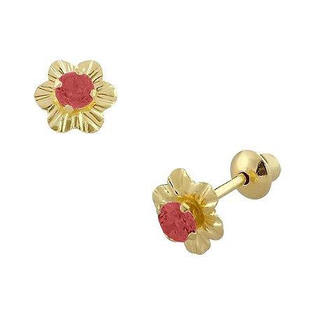Brinco de ouro 18K Flor com Pedra de Zircônia 2,5mm Vermelha