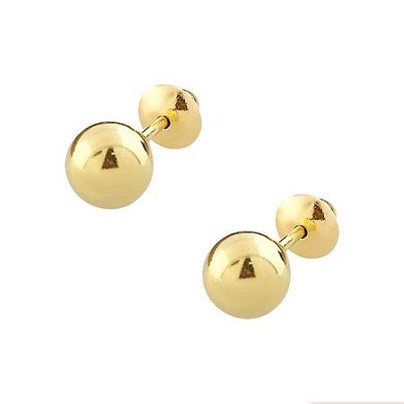 Brinco de Ouro 18K Bolinha 6mm