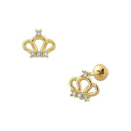 Brinco de Ouro 18K Coroa de Princesa com 8 Diamantes de 0,9mm