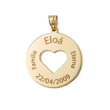 Pingente Personalizado Coração Vazado Ouro 18k