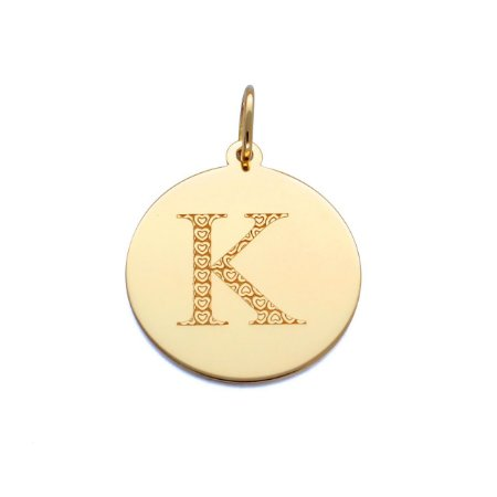 Pingente Ouro 18k Placa Redonda Personalizada Inicial