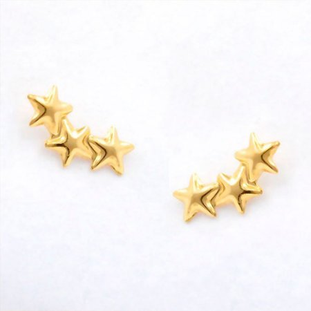 Brinco de Ouro 18K 3 Estrelas