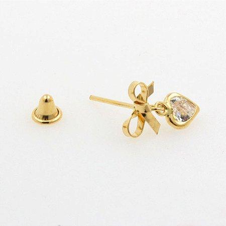 Brinco de Lacinho de Ouro 18K com Pedras de Zircônias