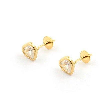 Brinco de Ouro 18K Coração de Zircônia 5x5mm