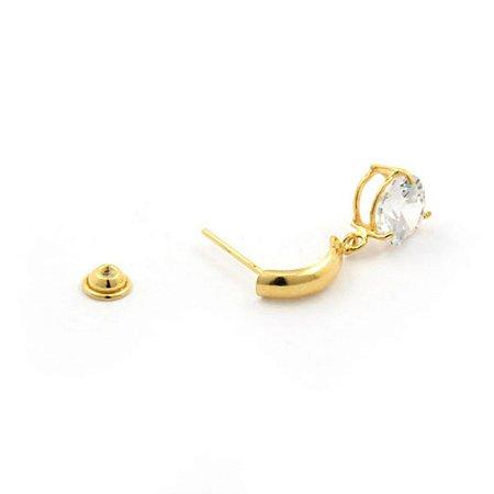 Brinco de Ouro 18K Meia Argola com Pedra Ponto Luz de Zircônia de 6mm adulto ou teen
