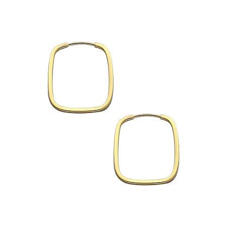 Brinco Argola Retangular Ouro 18k