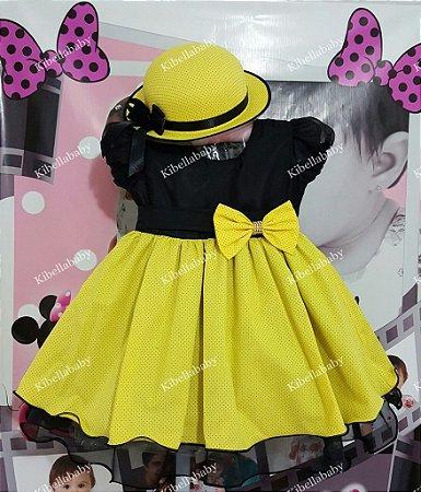 Vestido Infantil Abelhinha com Chapéu - tam 1 ao 3