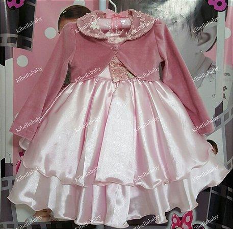 Vestido Infantil de Festa Princesa com Bolero - tam 1 ao 4