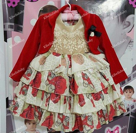 Vestido Infantil de Festa Florido com Bolero  - tam 1 ao 4
