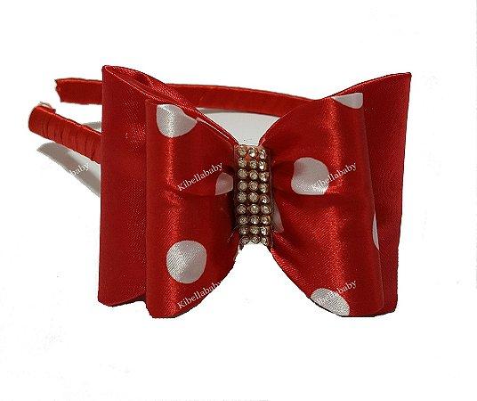 Tiara Infantil Luxo Minnie Vermelha com Bolinhas Brancas
