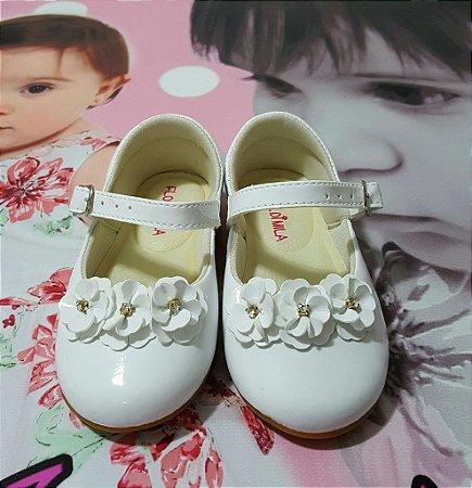 Sapatilha Infantil Branco Flor di Mila - tam 16x22