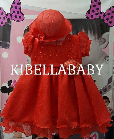 Vestido Infantil de Festa Vermelho com Chapéu - tam 1 ao 3