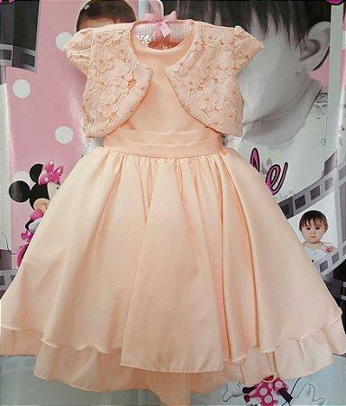 Vestido Infantil de Festa Bella Child Salmão com Casaquinho - tam 4 ao 12