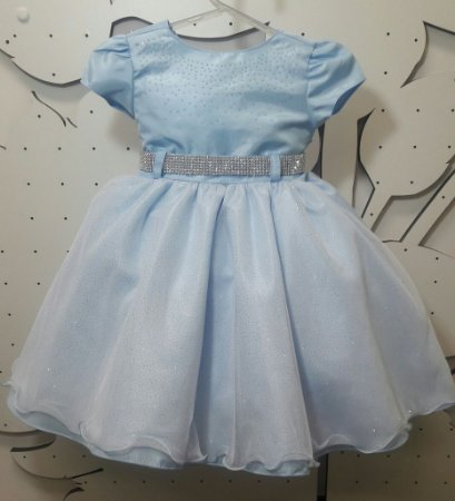 Vestido Infantil de Cinderela/Frozen Azul - tam 1 ao 3