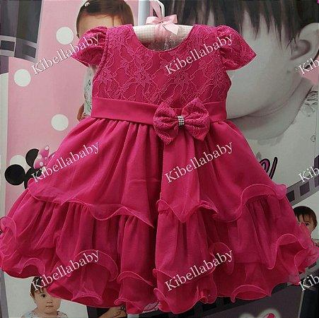 Vestido Infantil Pink Bela / Barbie - tam 1 ao 3