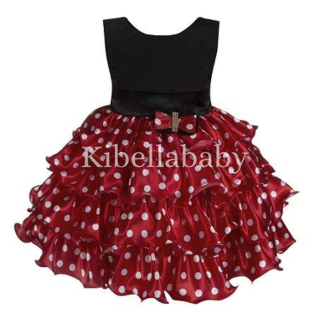 Vestido Infantil Minnie com Tiara de Cortesia - tam 1 ao 3