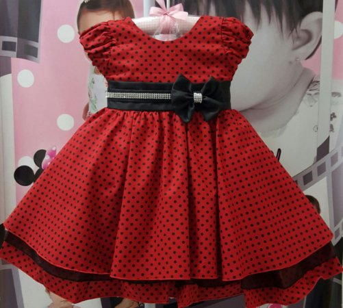 Vestido Infantil Minnie/Lady Bug - tam 1 ao 3