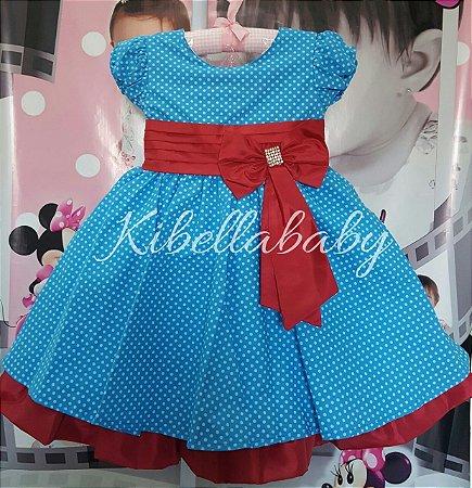 Vestido Infantil Galinha Pintadinha com Laço - tam 1 ao 3