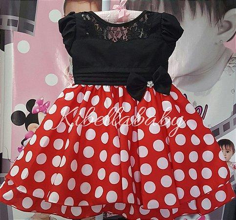 Vestido Infantil Minnie com Bolinhas Brancas - tam 1 ao 4