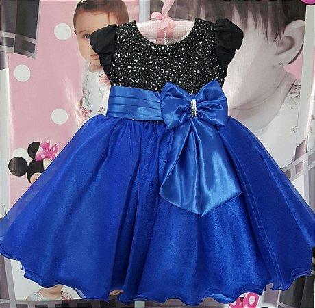 Vestido Juvenil Azul Princesa - tam 1 ao 3