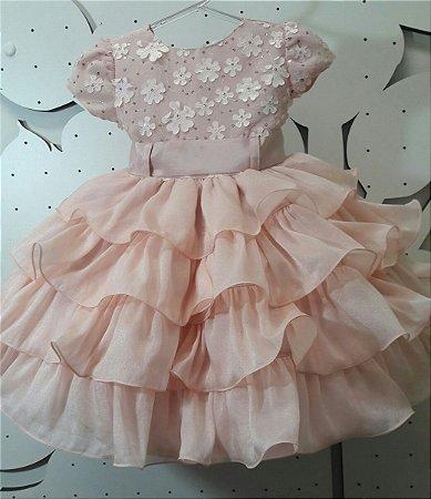 Vestido Infantil de Festa Rose Tam 1 ao 3