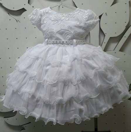 Vestido Infantil de Batizado Princesa Tam 1 ao 3