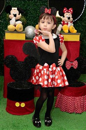 Fantasia  da Minnie com Tiara Orelhinha Tam 2 ao 8