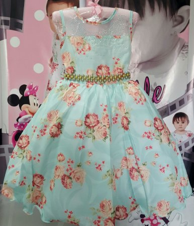Vestido Infantil Floral com cinto em Pérolas Tam 4 ao 12