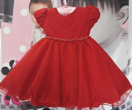 Vestido Infantil Vermelho bebê Tam P ao G