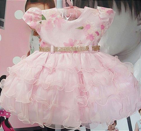 Vestido Infantil Bebê Rosa Floral Tam P ao G