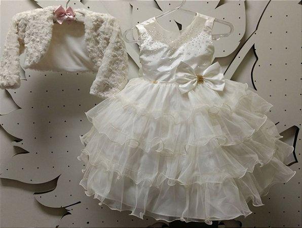 Vestido Infantil Off com Bolero Tam 1 ao 3