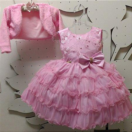 Vestido Infantil Rosa Princesa com Bolero Tam 1 ao 3