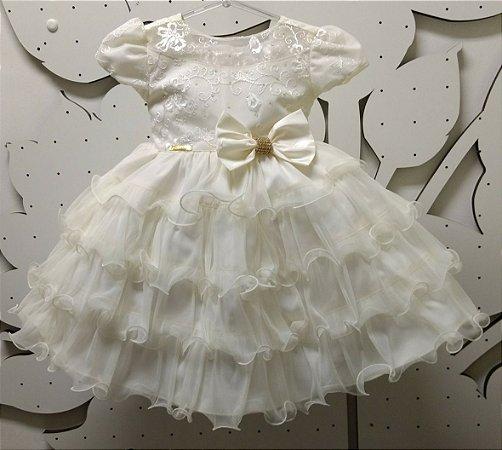 Vestido Infantil de Batizado Princesa - tam 1 ao 3