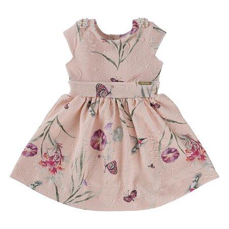 Vestido Floral Com Pérola No Ombro Tam 1 ao 4