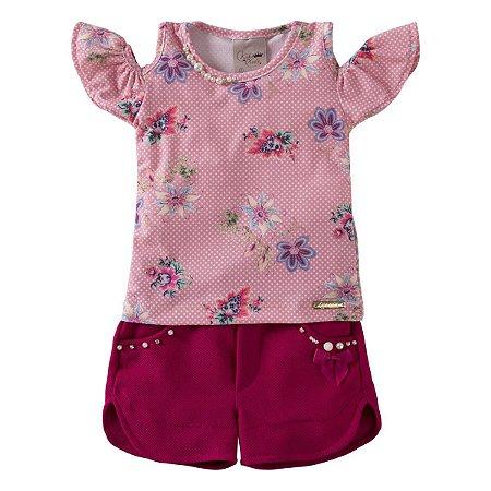 Conjunto Floral Blusa Recorte No Ombro + Short Tam 1 ao 4
