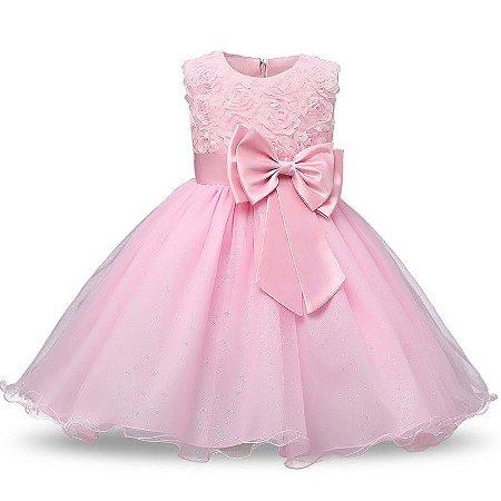 Vestido Infantil Vermelho Luxo Tam 1 ao 4