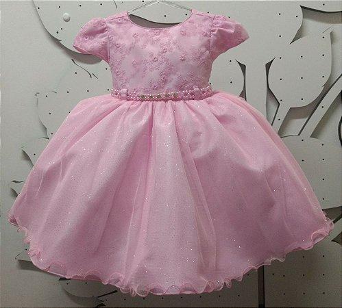 Vestido Infantil Princesa Rosa Tam 1 ao 3