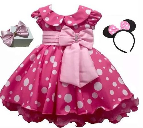 Vestido Infantil Minnie Rosa Tam 1 ao 4  com tiara de brinde